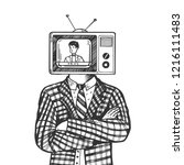 tv head of man engraving vector ... | Shutterstock .eps vector #1216111483