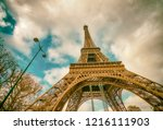 the eiffel tower  skyward view... | Shutterstock . vector #1216111903