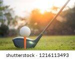 golf club and golf ball on...   Shutterstock . vector #1216113493