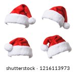 set of santa's red hat isolated ... | Shutterstock . vector #1216113973
