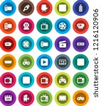 white solid icon set  cinema... | Shutterstock .eps vector #1216120906