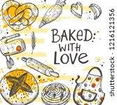 baked with love. lettering.... | Shutterstock .eps vector #1216121356