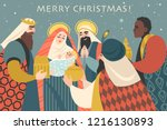 christmas card in retro style... | Shutterstock .eps vector #1216130893