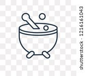 cauldron vector outline icon... | Shutterstock .eps vector #1216161043