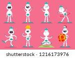 cute yeti monster set. vector... | Shutterstock .eps vector #1216173976