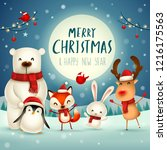 merry christmas and happy new... | Shutterstock .eps vector #1216175563