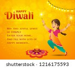 happy diwali greeting card.... | Shutterstock .eps vector #1216175593