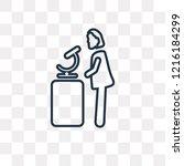 woman chemist vector outline... | Shutterstock .eps vector #1216184299