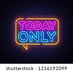 today only neon text vector... | Shutterstock .eps vector #1216192099