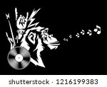 rock and roll music print with...