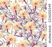 seamless pattern of marigolds... | Shutterstock . vector #1216202149