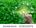 finger touch with environment... | Shutterstock . vector #1216216276