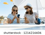 young teen girls having fun in... | Shutterstock . vector #1216216606
