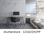 contemporary workplace with... | Shutterstock . vector #1216224199