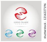 hand help care   teamwork logo. ... | Shutterstock .eps vector #1216227196