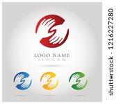 hand help care   teamwork logo. ... | Shutterstock .eps vector #1216227280