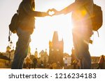 lovers make heart symbol at... | Shutterstock . vector #1216234183