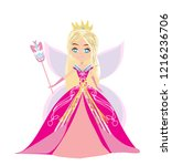 beautiful fairy with magic wand ... | Shutterstock .eps vector #1216236706