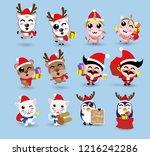 kawaii cute christmas santa... | Shutterstock .eps vector #1216242286