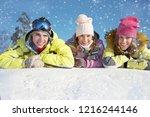 portrait of group of  teenagers ... | Shutterstock . vector #1216244146