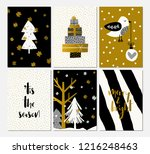 a set of six christmas designs... | Shutterstock .eps vector #1216248463