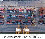 aerial top view of container... | Shutterstock . vector #1216248799