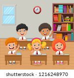 cartoon school kids raising... | Shutterstock .eps vector #1216248970