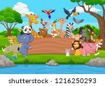 cartoon wild animal with blank... | Shutterstock .eps vector #1216250293
