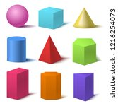 Realistic Detailed 3d Color Basic Shapes Set Isolated on White Background Include of Cube, Cylinder, Sphere and Cone. Vector illustration