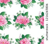 seamless floral pattern with... | Shutterstock .eps vector #1216265806