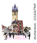prague clock tower sketch... | Shutterstock .eps vector #1216267969