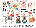 big set with cute animals doing ... | Shutterstock .eps vector #1216270063