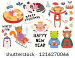 big set with cute animals doing ... | Shutterstock .eps vector #1216270066