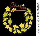 autumn sale. wreath of autumn... | Shutterstock .eps vector #1216270900