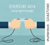hands holds the broken wires on ... | Shutterstock .eps vector #1216271560