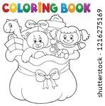coloring book christmas bag...   Shutterstock .eps vector #1216275169