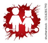 stop child abuse  children with ... | Shutterstock .eps vector #1216281793