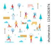 wintertime outdoor activities ...   Shutterstock . vector #1216282876
