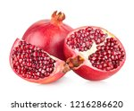 ripe pomegranates isolated on... | Shutterstock . vector #1216286620