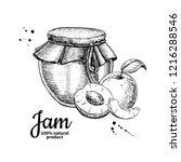 apricot jam glass jar drawing.... | Shutterstock . vector #1216288546