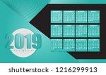blue calendar 2019 minimal...   Shutterstock .eps vector #1216299913