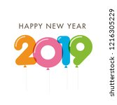 happy new year 2019 card ... | Shutterstock .eps vector #1216305229