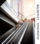 escalator with passengers... | Shutterstock . vector #121630798