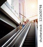 escalator with passengers... | Shutterstock . vector #121630798