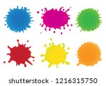 colorful paint splats.paint... | Shutterstock .eps vector #1216315750