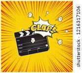 clapperboard with clap word... | Shutterstock .eps vector #1216317106