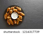 roasted chicken wings with... | Shutterstock . vector #1216317739