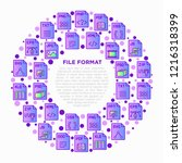 file formats concept in circle... | Shutterstock .eps vector #1216318399