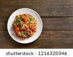 spaghetti bolognese on white... | Shutterstock . vector #1216320346