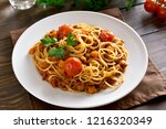 close up of spaghetti with... | Shutterstock . vector #1216320349